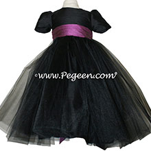 Black tulle and tiffany purple silk flower girl dress