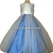 Blue Moon and Antique White flower girl dresses