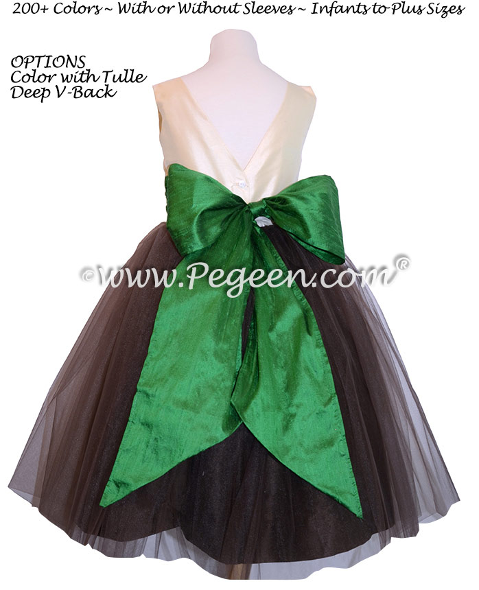 Black and Green Flower Girl Dress,Brown Tulle Flower Girl Dresses,