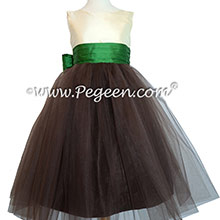 Chocolate Brown and Emerald Green Flower Girl dresses with chocolate tulle Style 356