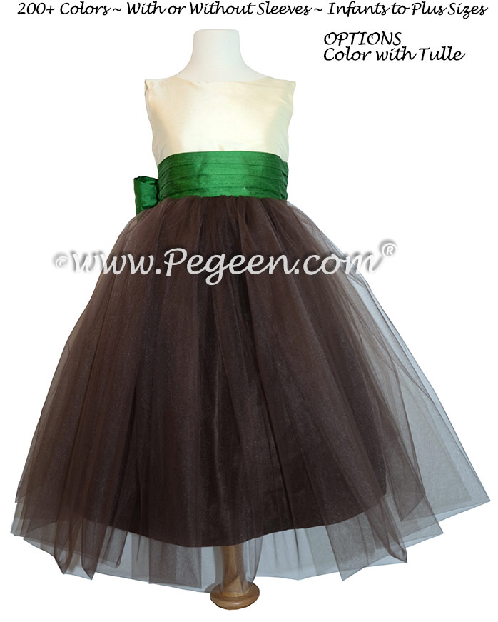 Emerald Flower Girl Dress with Chocolate Tulle