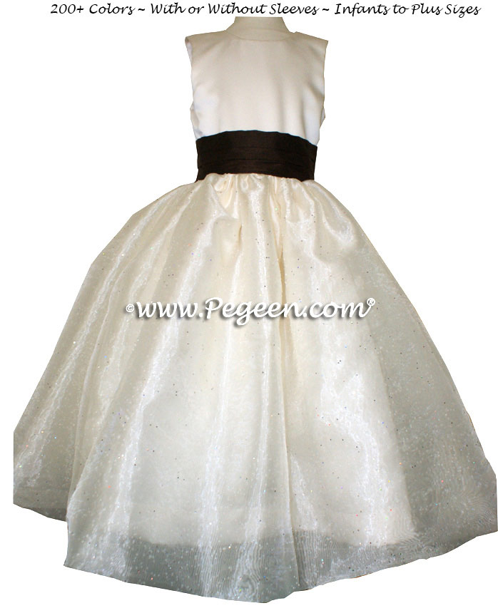 Chocolate brown and ivory satin with sugar organza flower girl dresses