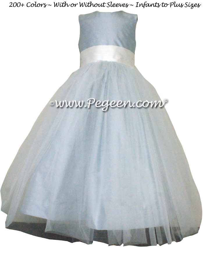 Flower Girl Dress in Cloud Blue and White silk and tulle | Pegeen
