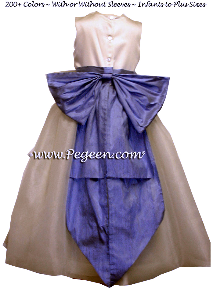 Ivory and Ocean Blue Ballerina Style Flower Girl Dresses with Cinderella Bow