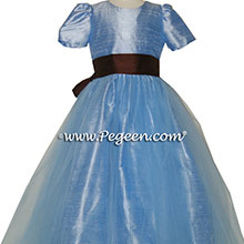 Denim Blue and Chocolate brown with Blue tulle dress - flower girl dresses