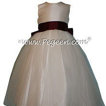 New Ivory and Eggplant Flower Girl Dresses