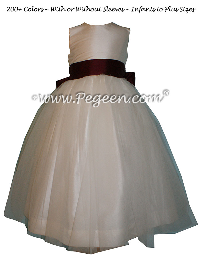 Flower Girl Dresses in New Ivory and Eggplant Silk and Tulle