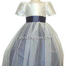 Matching Bill Levkoff White and Euro lilac TULLE CUSTOM Flower Girl Dresses BY PEGEEN