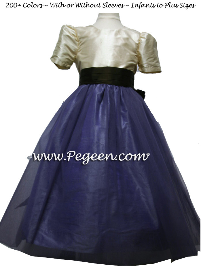 Eurolilac Tawny Gold and Lilac Tulle flower girl dresses from Pegeen Classics