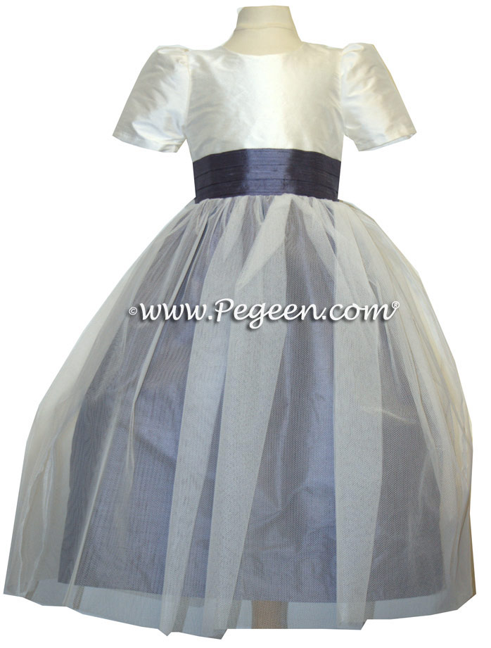 Euro Lilac and New Ivory Silk flower girl dresses
