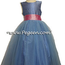 french blue tulle flower girl dresses