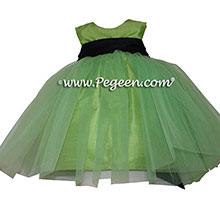 Green Tulle, key lime green, Grape Silk Flower Girl Dresses