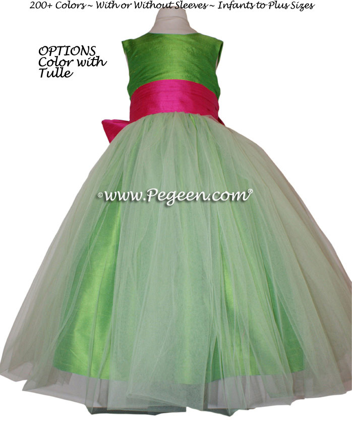 Flower Girl Dress Style 356 in Shock Pink and Key Lime Green | Pegeen