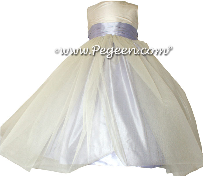 Light Orchid Silk Flower Girl Dresses Style 356 and Tulle
