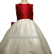 lipstick red and tulle flower girl dresses