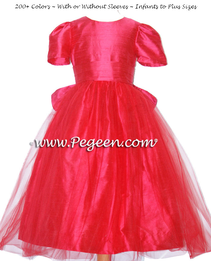 Lipstick Pink Silk Flower Girl Dresses Style 356 and Pink Tulle
