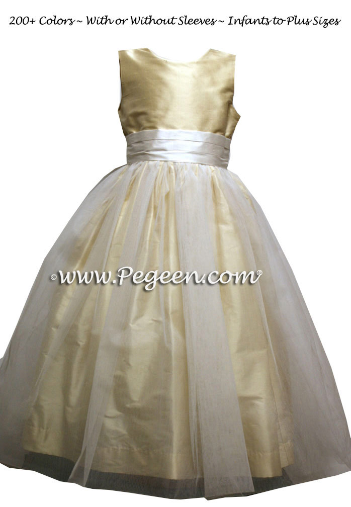 Antique white and maize tulle flower girl dresses Style 313