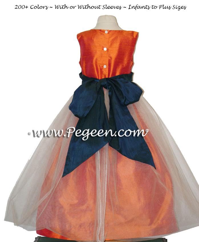 Orange and Navy Silk Tulle Flower Girl Dresses