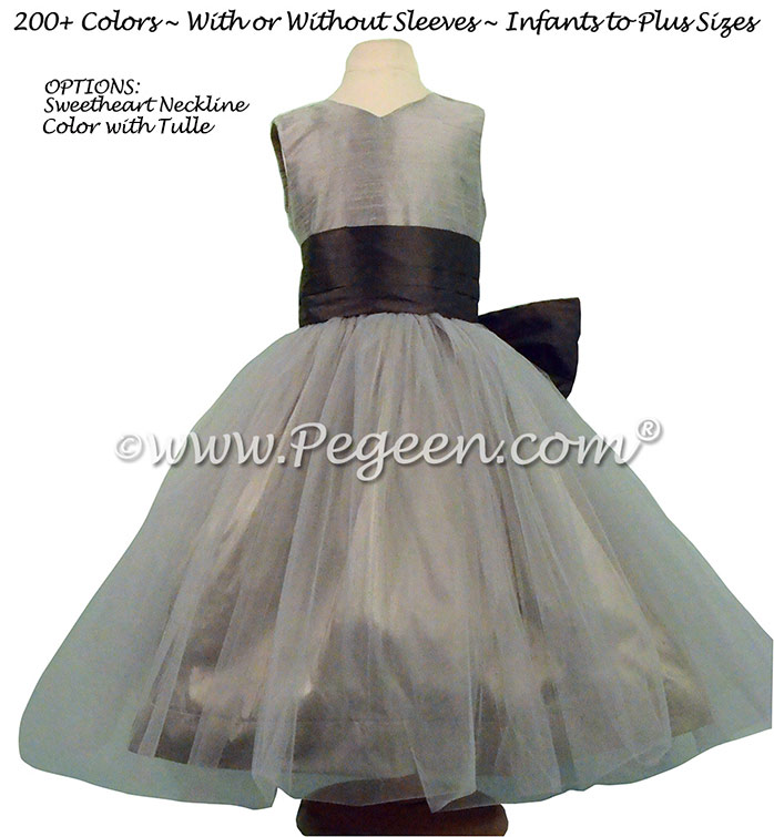 Medium Gray and Pewter Silk Flower Girl Dresses Style 356