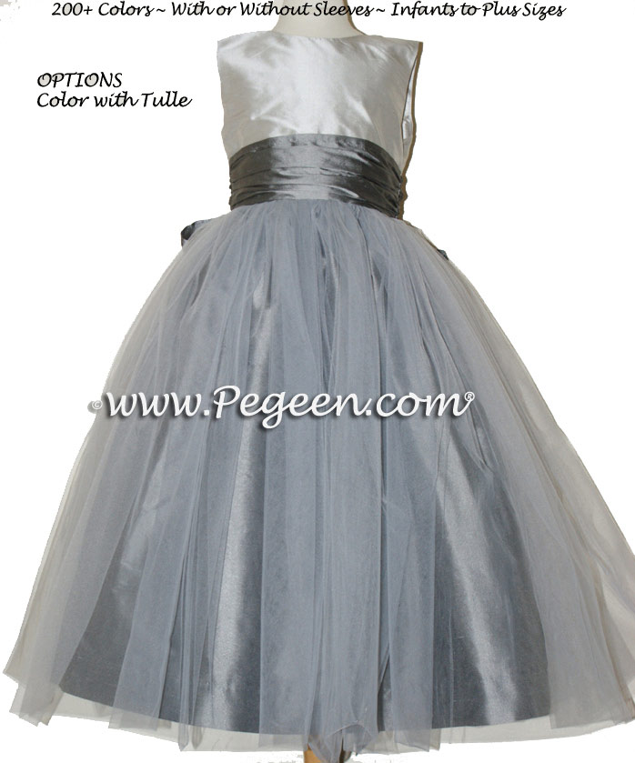 Flower girl dress in Platinum and Medium Gray Silk Tulle | Pegeen