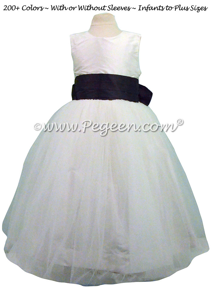 91f717a4458 Antique White and Midnight Flower Girl Dresses with a Tulle Skirt