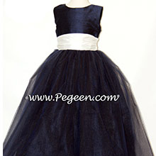 NAVY midnight AND IVORY SILK FLOWER GIRL DRESSES