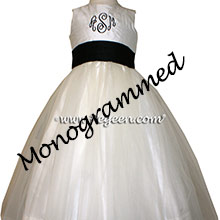 NEW IVORY  AND BLACK Silk Flower Girl Dresses by PEGEEN