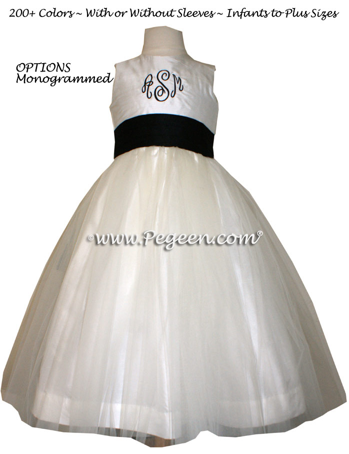 Monogrammed Flower girl dress in black and ivory silk and tulle | Pegeen