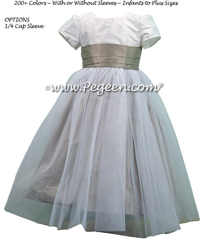 Morning Gray and Antique White CUSTOM FLOWER GIRL DRESSES With Tulle skirt