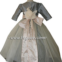 Morning Gray and Blush Pink tulle silk flower girl dresses