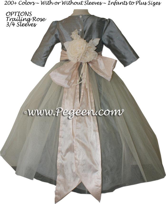 47433ca800 ... Morning Gray and Blush Pink Silk Tulle Flower Girl Dresses ...