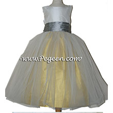 MUSTARD, SILVER AND IVORY CUSTOM Flower Girl Dresses