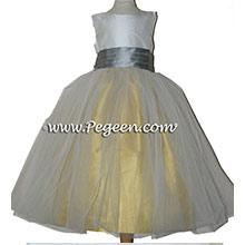 MUSTARD, SILVER AND IVORY CUSTOM Flower Girl Dresses