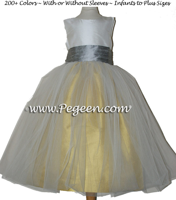 Junior Bridesmaid Dress Mustard Yellow and Silver Gray Silk Sash and Tulle
