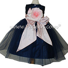 Petal Pink and Navy ballerina style flower girl dresses with navy tulle Style 356