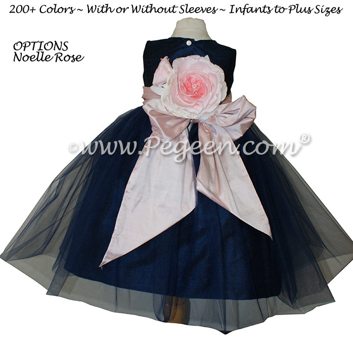 Petal Pink and Navy Ballerina Flower Girl Dresses With Navy Tulle