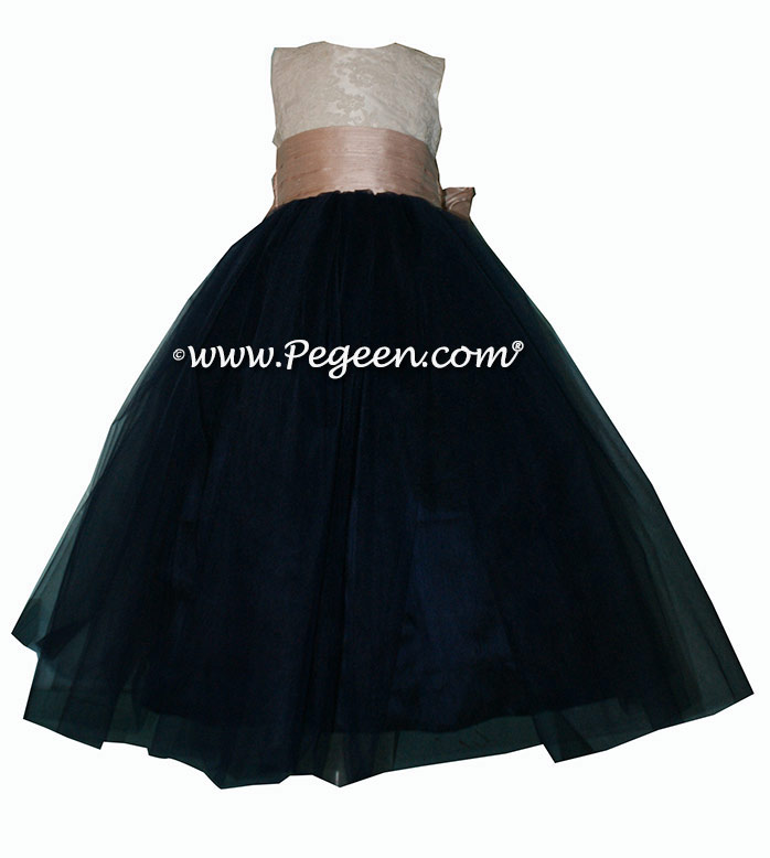 Flower girl dress with lace bodice, navy tulle and pink sash  | Pegeen