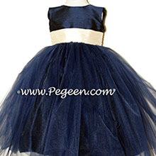 YELLOW AND NAVY TULLE flower girl dresses