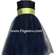 NAVY AND SPRITE GREEN TULLE FLOWER GIRL DRESSES