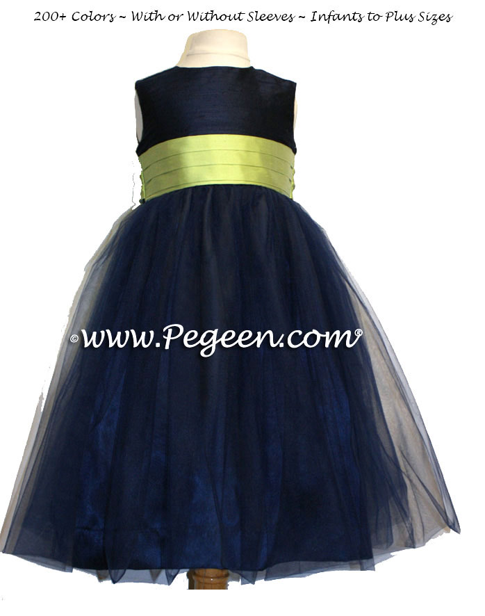 Sprite Green and Navy blue tulle flower girl dresses in Pegeen Classic Style 356