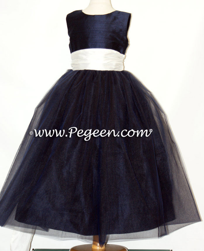Ivory and Navy Ballerina Flower Girl Dresses With Navy Tulle