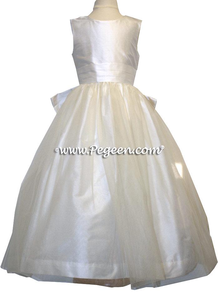 New Ivory Silk Flower Girl Dresses Style 356