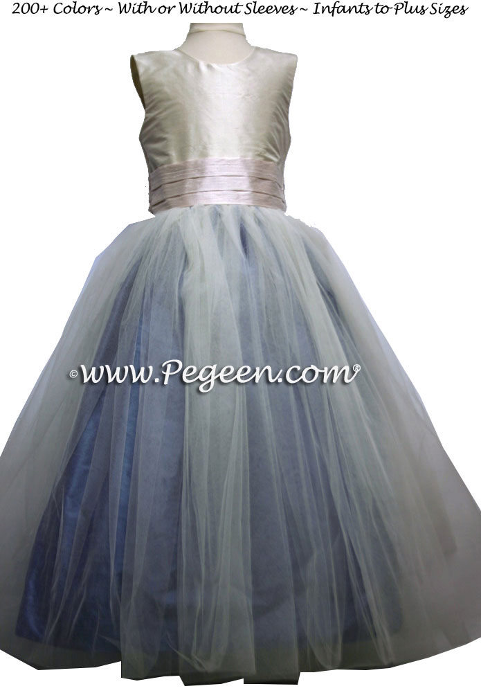 Ocean Blue, Pink and IvoryBallerina Flower Girl Dresses With Navy Tulle