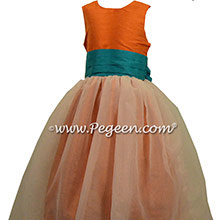 Carrot Orange and Oceanic (teal-blue) flower girl dresses