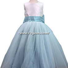 Antique White and Pacific Blue Silk Flower Girl Dresses Style 356