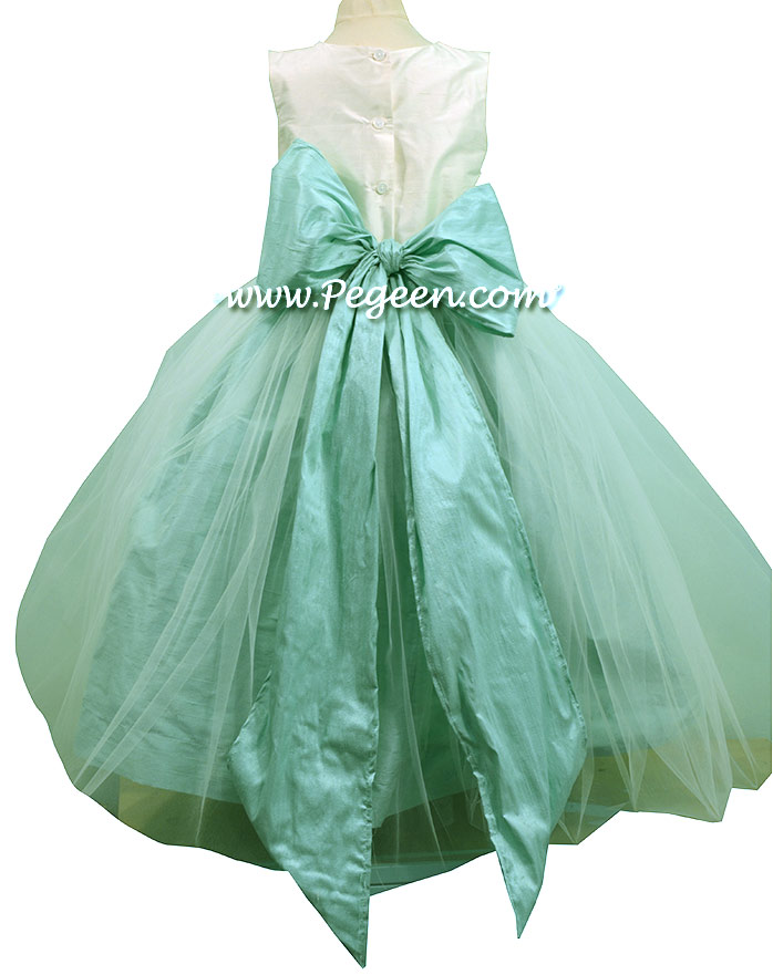 Silk Flower Girl Dress Antique White and Pacific Blue Style 356 | Pegeen