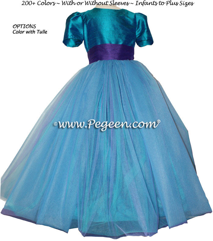 28c74a81486 Peacock (teal) and Purple Tulle Flower Girl Dresses
