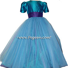 Peacock blue and royal purple tulle flower girl dress