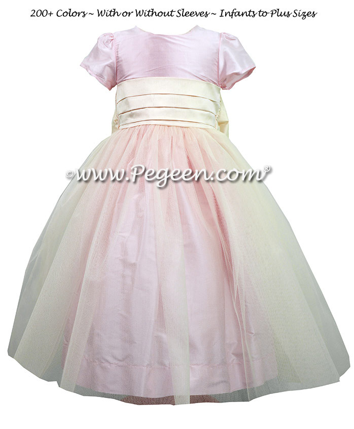 Bisque and Peony Silk Flower Girl Dresses