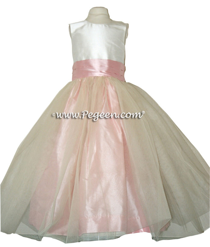 Peony Pink and New Ivory Silk Flower Girl Dresses Style 356
